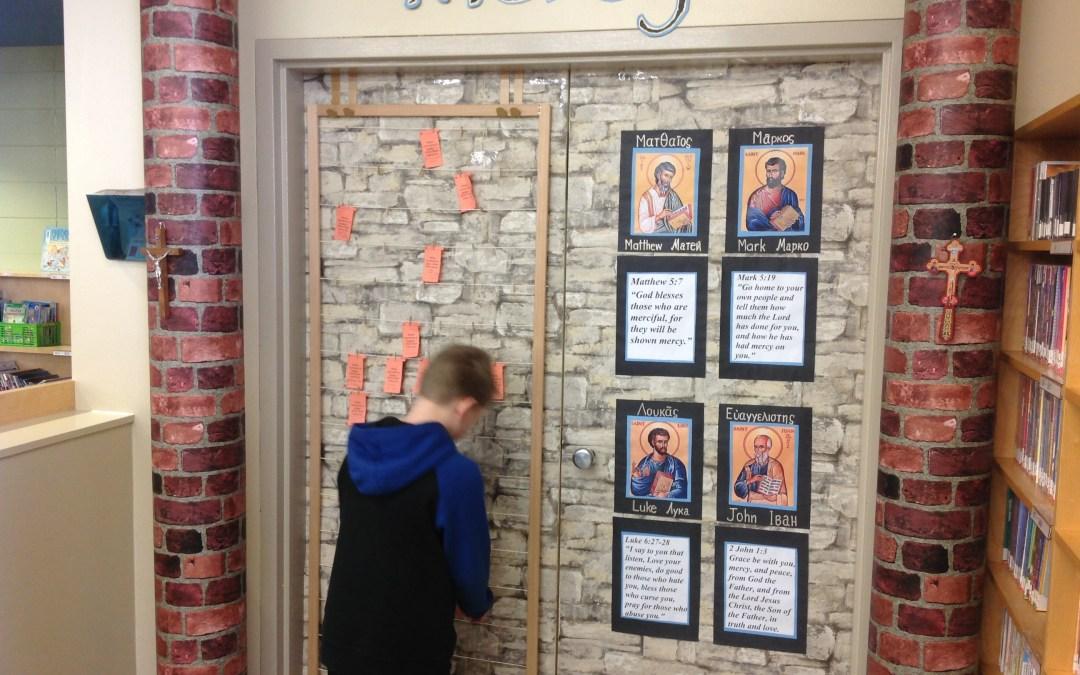 Photos: Door of Mercy at St Matthew's Catholic Elementary School, Edmonton