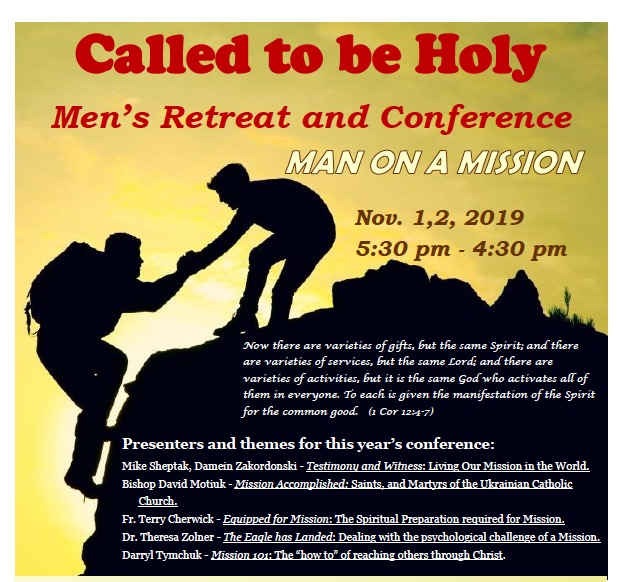 Called to be Holy – Men's Retreat/Conference – Nov 1-2, 2019