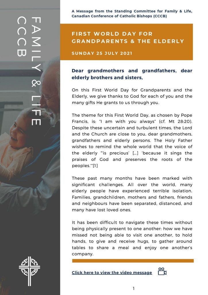 First World Day for Grandparents and the Elderly - CCCB Standing Committe for Family and Life